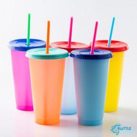 แก้วน้ำเปลี่ยนสี หลายสี พร้อมหลอดและฝา